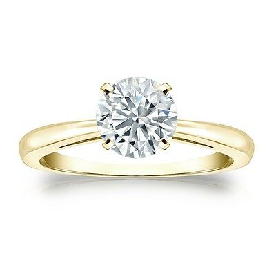 2.25 Ct Round Cut Solitaire Engagement Ring Solid in 10k Yellow Gold