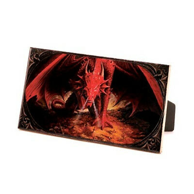 CRIMSON DRAGON Ceramic Picture Tile w/ Easel Back  or Wall Hanging Plaque