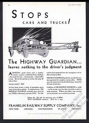 1930 Franklin Highway Guardian railroad train crossing gate vintage print ad