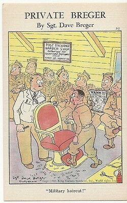 WWII Original 1940s PC- Private Breger- PX Barbershop- Military Haircut- Comic
