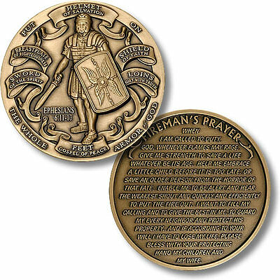 Armor of God  - High Relief  - Fireman's Prayer Challenge Coin Ephesians 6:10-12