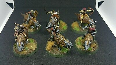 6 x Orc Warg Riders Pro painted plastic models LOTR The Hobbit