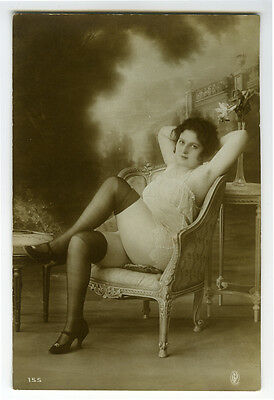 1910s French Nude Sexy LEGGY BEAUTY Risque stockings lingerie photo postcard