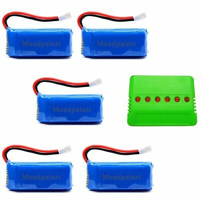 Replacement Battery x5 + 6 in 1 Charger for quadcopter helicopter F180C J3RC H37