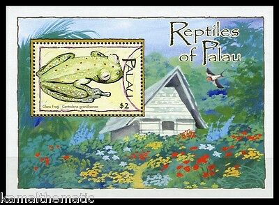 Palau 2004 MNH SS, Reptiles, Glass Frog Frogs, Flowers, Painting   -A08