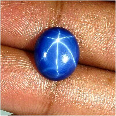 8.30 Cts. Natural Star Blue Sapphire Oval Six Buds Ring Size Cabochon Gemstone