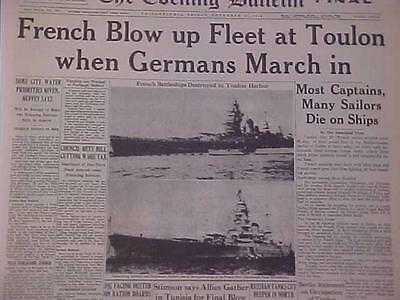 Vintage Newspaper Headline~World War 2 French Scuttled Ships Toulon Harbor Wwii~