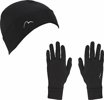 More Mile Chill Brushed Beanie and Glove Set - Black
