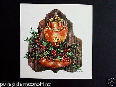 Vintage Unused Red Farm Ellen Xmas Greeting Card Old Fashioned Oil Lamp & Holly