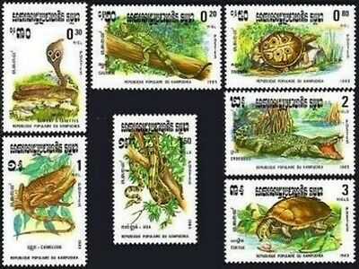 CAMBODGE Kampuchea N°400/406** Reptiles : serpent, tortue...1983, CAMBODIA MNH