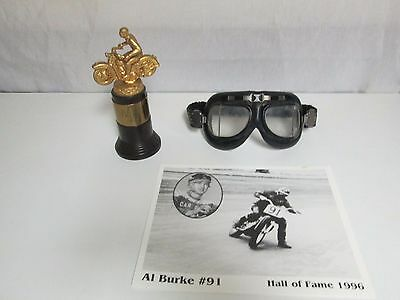 AL BURKE #91 AMA HALL OF FAME 1957 Lot Motorcycle Trophy EMGO Goggles & Picture