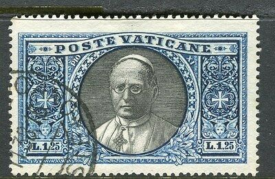 ITALY VATICAN;  1933 early pictorial issue fine used 1.25L. Pope Pius value