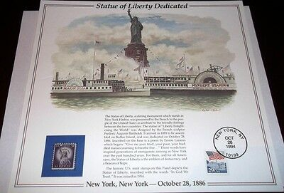 Stamps U.s. 1994 Statue Of Liberty Dedicated - October 28Th 1994.