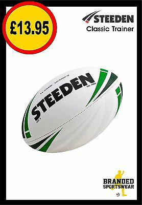 Steeden Classic Trainer Rugby Ball (Training Quality) Size 5 White/Green NEW