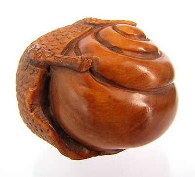 "Y4435 - 2"" Good Quality Hand carved Boxwood Netsuke - Snail"