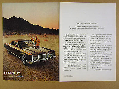 1972 Lincoln Continental maroon-brown car photo vintage print Ad