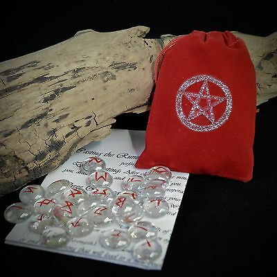 25 GLASS RUNE STONES & RED BAG Wicca Pagan Witchcraft Runes Pentacle