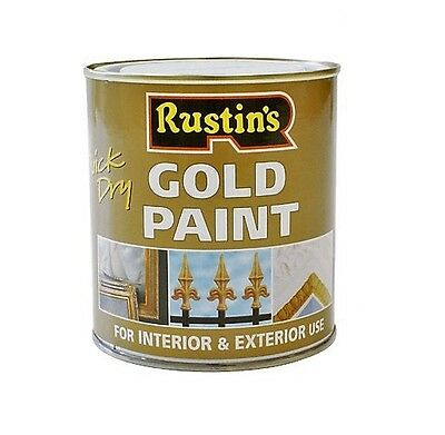 Rustins 250Ml Gold Paint Quick Dry Interior & Exterior For Wood And Metal