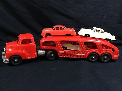 Hubley Plastic Toy Truck Car Transport Vintage Kiddie 1950's