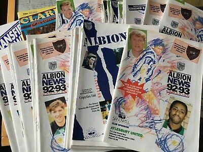 West Brom Bromwich Albion WBA HOME programmes 1992/93 Division Two