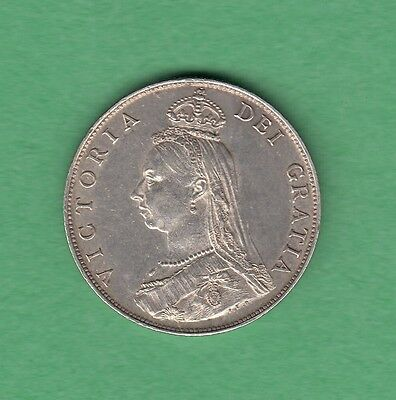 1887 Great Britain Florin, Two Shillings Silver Coin - Queen Victoria - EF