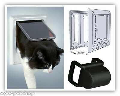 Cat Flap Electromagnetic Cat Door White - 4 Way Electromagnetic