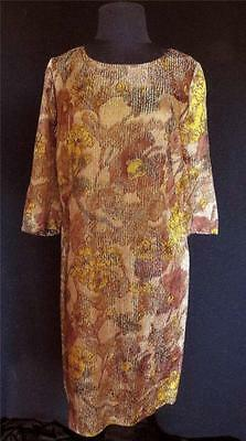 Rare French Vintage 1960's Woven Silk Metallic Muted Floral Sheath Dress Size 14