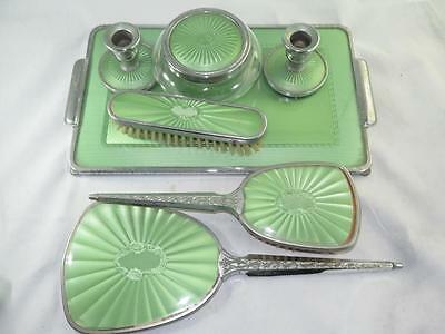 Vintage Ladies Dressing Table Set Silver Effect with Bright Green Backing