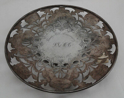 "Antique Round Tray 9.3"" - Alvin Sterling Silver 925 -  398 gram - Inscr. 1912"