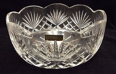 "Glass Scalloped Serving Bowl by Irena 24% Lead Cut Crystal (Poland) 8"" D x 4"" H"