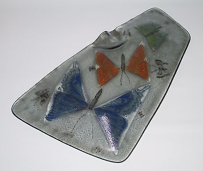 """Higgins Glass Free Form Ashtray Butterflies 12"""" Mid Century Modern USA Signed"""