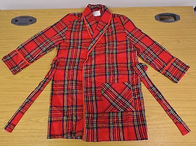 AUTHENTIC VINTAGE 1980's UNWORN BOYS RED TARTAN DRESSING GOWN / ROBE 6-7 YEARS