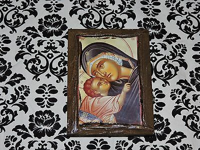 Portara Icon Lacquered Wood Virgin Mary Baby Jesus Hanging Plaque Wall Art USED