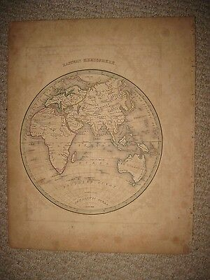 Antique 1835 Eastern Hemisphere World Bradford Map Australia New Holland Africa