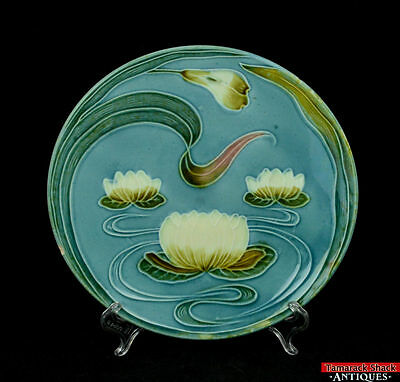 """Antique German Majolica Water Lily Pad Floral Blue 9"""" Plate Marked G Zell S L6Z"""