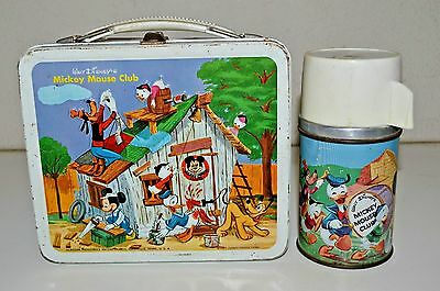 Vintage 1963 Disney Mickey Mouse Club Metal Lunchbox & Thermos Set C7.5 Rare