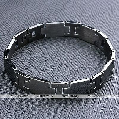 10mm Stainless Steel Black H Link Chain Punk Bracelet Bangle Cuff Wristband Men