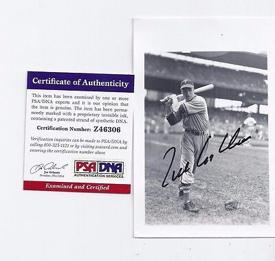 Richie Ashburn Philadelphia Phils Baseball Autographed Brace Postcard Photo PSA