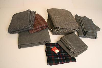 Vintage WOOL LOT Fabric plaid dot tweed material bolt upholstery houndstooth