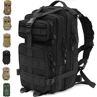 30L Black Hiking Mountain Biking Outdoor Military Tactical Rucksack Trekking Bag