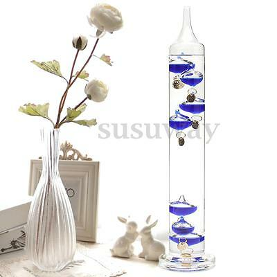 30cm Tall Free Standing Galileo Thermometer with Blue Coloured Baubles Gift