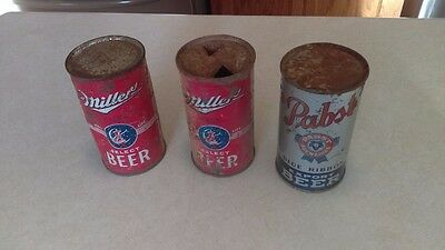 ( 3 ) 1930's Miller & Pabst Flat Top Beer Cans Miller Select Red Pabst Export