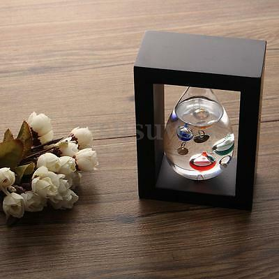 Weather Station Glass Liquid Thermometer Galileo Teardrop in Wood Frame Decor