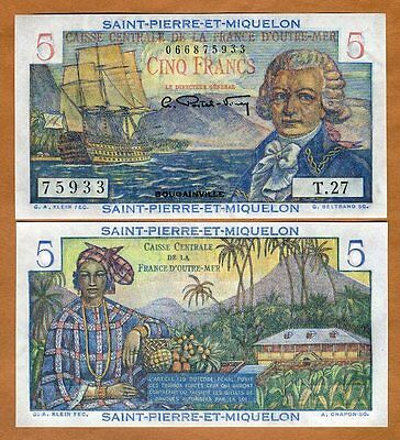 Saint Pierre and Miquelon, 5 Francs, ND (1950), P-22, UNC