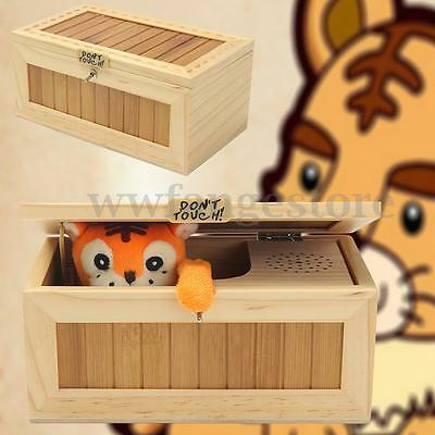 Wooden Useless Leave Me Alone Sound Box Machine Don't Touch Tiger Toy Gift