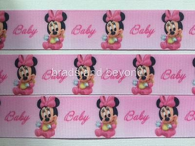 """BB Ribbon BABY GIRL MINNIE MOUSE PINK 2m grosgrain 1"""" 25mm"""