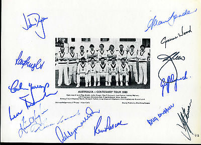 CRICKET  Australia Team Centenary Test Match Printed Photo  1980 Signed by 14