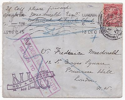 * 1915 London Cover   National Liberal Club 'not A Member' Cachet & Returned