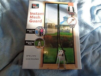 "New Total Vision Instant Mesh Guard 39"" X 79"" Instant Screen Door Magnetic Close"