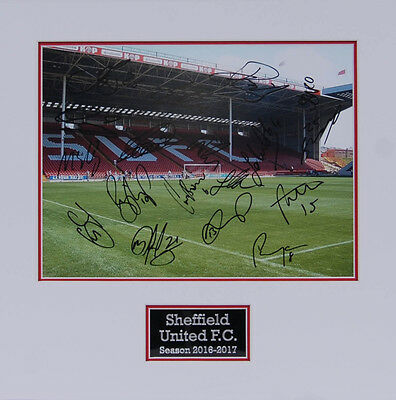 Sheffield United 2017 Squad Signed Double Mounted Photo D AFTAL COA Blades SUFC